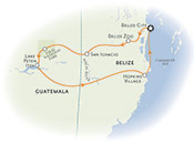 Belize and Guatemala Multisport map